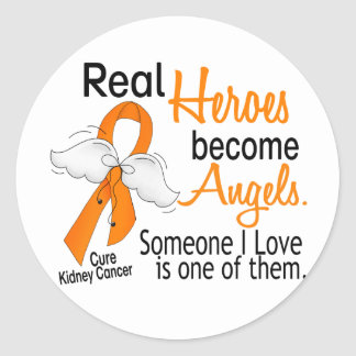 Heroes Become Angels Kidney Cancer Round Stickers