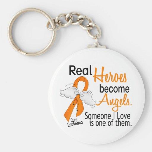 Heroes Become Angels Leukemia Keychain