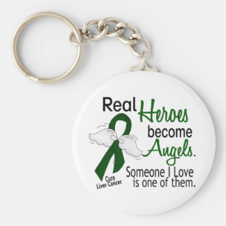 Heroes Become Angels Liver Cancer Basic Round Button Keychain