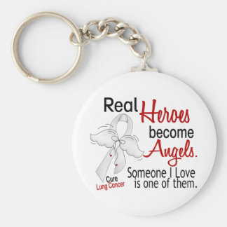 Heroes Become Angels Lung Cancer Basic Round Button Keychain
