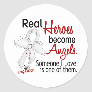 Heroes Become Angels Lung Cancer Round Sticker