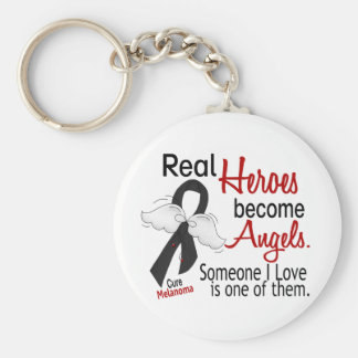 Heroes Become Angels Melanoma Basic Round Button Keychain