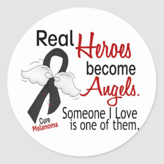 Heroes Become Angels Melanoma Classic Round Sticker