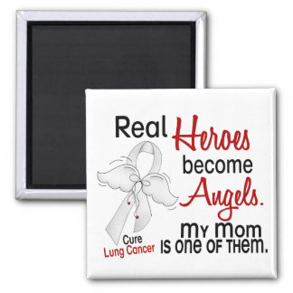 Heroes Become Angels Mom Lung Cancer 2 Inch Square Magnet
