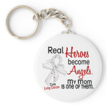 Heroes Become Angels Mom Lung Cancer Keychain