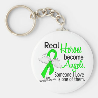 Heroes Become Angels Non-Hodgkins Lymphoma Keychain