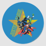 Héroes de la estrella de la liga de justicia pegatina redonda
