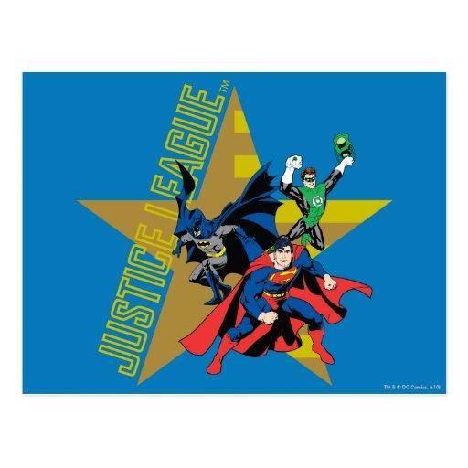 Héroes de la estrella de la liga de justicia tarjetas postales