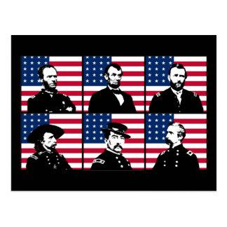 Héroes de la guerra civil y la bandera americana postales