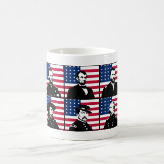 Héroes de la guerra civil y la bandera americana taza