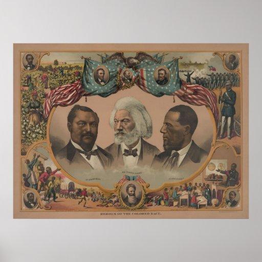 Héroes de la historia afroamericana del negro de l póster