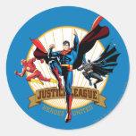 Héroes de la liga de justicia unidos pegatina redonda