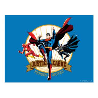 Héroes de la liga de justicia unidos tarjeta postal