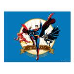 Héroes de la liga de justicia unidos tarjetas postales