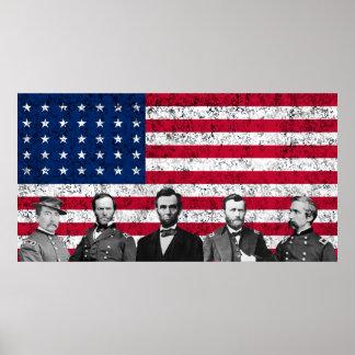 Héroes de la unión y la bandera americana póster