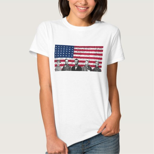 Héroes de la unión y la bandera americana remera