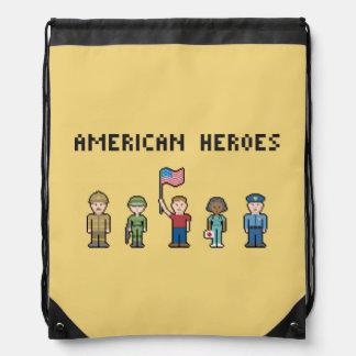 Héroes del americano del pixel mochilas