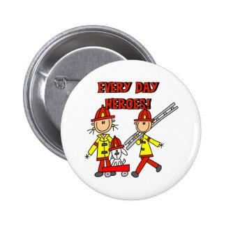 Héroes del bombero pin redondo de 2 pulgadas