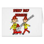 Héroes del bombero tarjeton