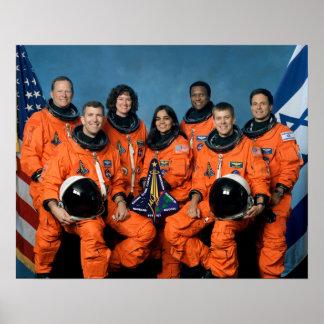 Héroes del desastre de Columbia del transbordador  Poster