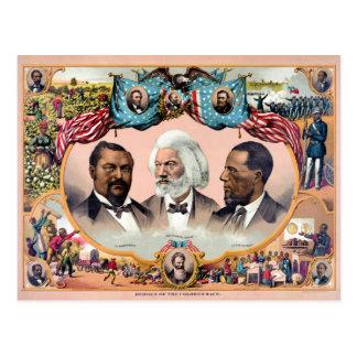 Héroes del poster coloreado 1881 de la raza postal