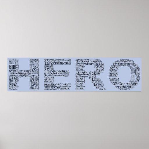 Héroes en la lucha contra el cáncer (texto negro) posters