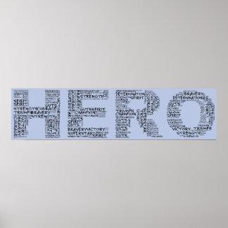 Héroes en la lucha contra el cáncer (texto negro) póster