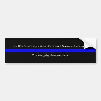 Héroes finos del americano de Blue Line Pegatina De Parachoque