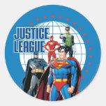 Héroes globales de la liga de justicia pegatina redonda