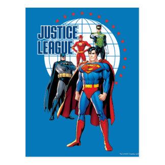Héroes globales de la liga de justicia tarjeta postal