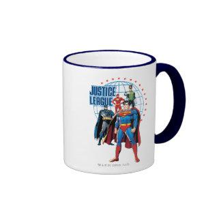 Héroes globales de la liga de justicia taza de dos colores