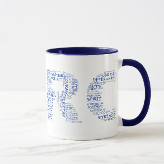 Heroes in the Fight Against Cancer (Blue Text) Mug