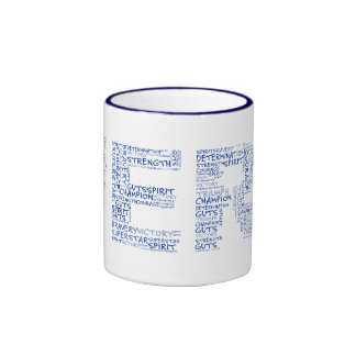 Heroes in the Fight Against Cancer (Blue Text) Ringer Coffee Mug