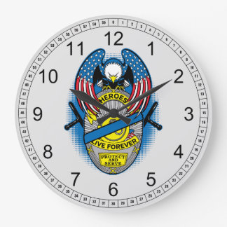 Heroes Live Forever Police Memorial Badge Large Clock