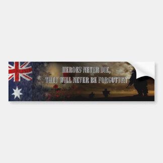 Heroes never….Australia Pegatina Para Auto
