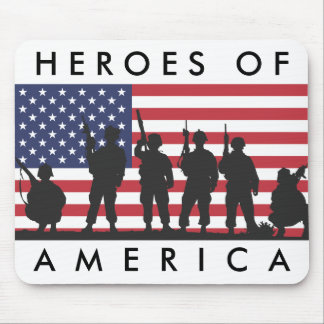 Heroes of America - USA Flag with Soldiers Mouse Pad