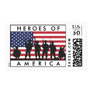 Heroes of America - USA Flag with Soldiers Postage