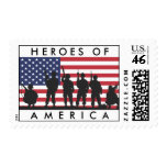 Heroes of America - USA Flag with Soldiers Stamps