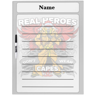 Héroes reales del bombero pizarras blancas