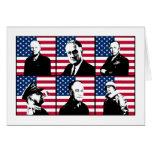 Héroes WW2 y la bandera americana Tarjetas