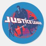 Héroes y globo globales de la liga de justicia etiqueta redonda