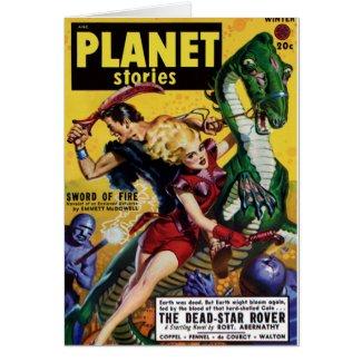 Heroic Blonde Rides a Dinosaur Card