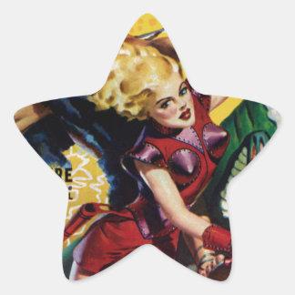 Heroic Blonde Rides a Dinosaur Star Sticker
