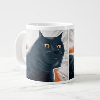 Heroic blue-grey tabby cat giant coffee mug