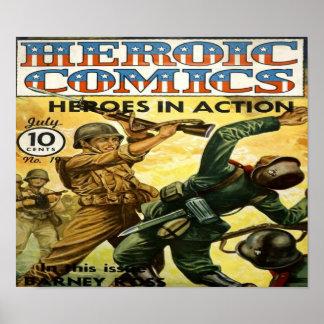 Heroic Comics - Heroes in Action Comic Book Poster