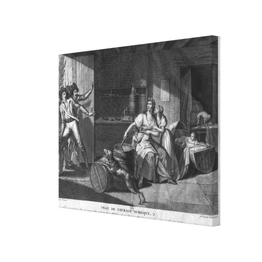 Heroic courage of a woman facing Vendean robbers Canvas Print