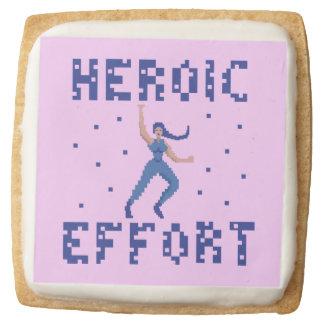 Heroic Effort Pixel Shortbread Cookies - Pack of 4 Square Premium Shortbread Cookie