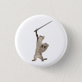 Heroic Warrior Knight Cat Button