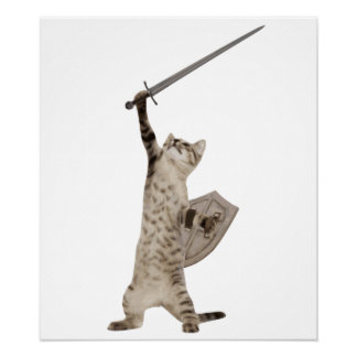 Heroic Warrior Knight Cat Poster