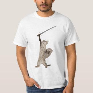 Heroic Warrior Knight Cat Tee Shirt